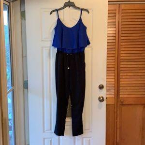 Blue and black pantsuit